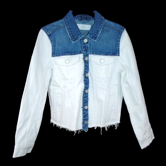 Blank NYC Jackets & Blazers - BlankNYC Denim Jacket White Blue Cut Off Style